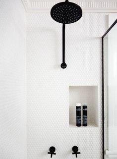 Image result for matte black penny tile bathroom
