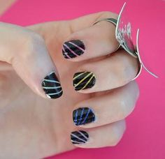 DIY Nails Art :DIY Neon Nails Art : DIY Hidden Neon Striped Nails.