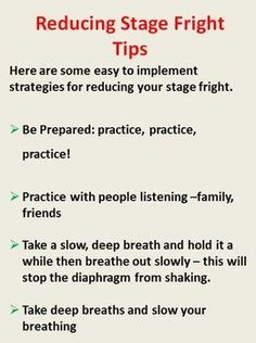 Performance Anxiety/Stage Fright its symptoms and strategies for dealing with it! $