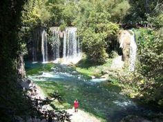 Duden Waterfalls are an aggregation of waterfalls in the area of Antalya, Turkey. The Duden River extends from the Taurus Mountains the distance to the Mediterranean, and makes two falls know as the Upper and Lower Duden Waterfalls. The Upper Duden waterfall is 15m (49ft) high and 20m (65ft) wide and set in a valley.