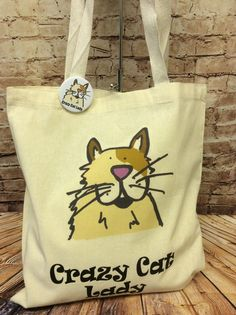 Crazy Cat Lady Tote Bag & Pin Badge £5 #CRAFTfest
