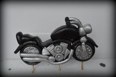 Fondant Motor Bike Topper/ Bike/ Motor Cycle/ 3 D motorbike/ 3 D cake toppers/ Fondant bike/ edible cake toppers/ Boys cake ideas/  edible/ Harley davidson inspired by LittleOrchidStudio