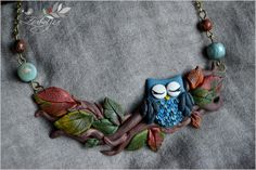 polymer clay owl by zubiju Owl collar