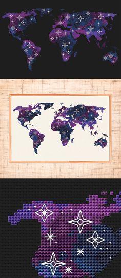 World map cross stitch pattern | Galaxy cross stitch Modern embroidery Constellation