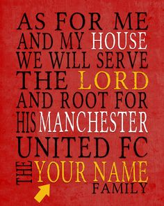 "Manchester United FC football club inspired Personalized Customized Art Print- ""As for Me"" Parody- Unframed Print"