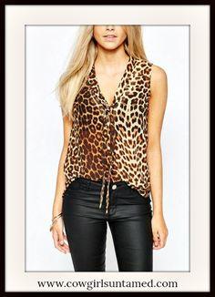 COWGIRLS ROCK TOP Brown Leopard Sleeveless Tie Neckline Top  #sexy #top #shirt #blouse #leaopard #animalprint #tie #vneck #sleeveless #bohemian #rocknroll #cowgirl #boutique #fashion #beautiful #wholesale #cowgirlsuntamed