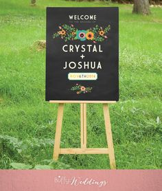 $20 on ETSY  |  A large custom Chalkboard Wedding Welcome sign is the perfect introduction to your special day. A mix of art deco and modern type, paired with vintage rustic flowers that I hand painted in watercolor. Perfect for an outside wedding.