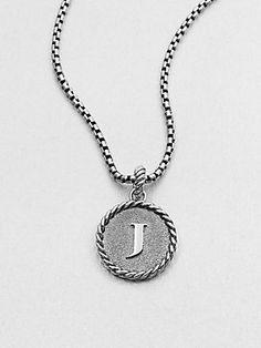 David Yurman Sterling Silver Initial Pendant Necklace