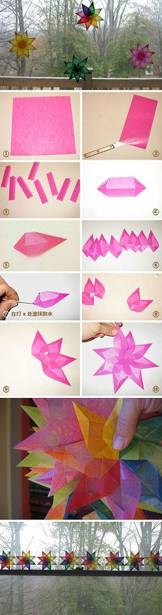 rainbow tissue paper stars - folded & glued - easy to follow steps shown in picture form
