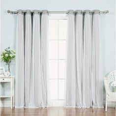 """August Grove Braswell Blackout Thermal Curtain Panels Size: 96"""" L x 52"""" W, Color: Light Grey"""