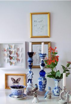 Theme of the Month in our shop: Design by Crème de la Crème. Vignettes, Creme, Candle Holders, Blue And White, Pottery, Vase, Candles, Ceramics, Interior Design