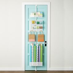 White elfa utility Gift Wrap Door & Wall Rack - that's some sexy ass storage right there. Shoe Storage Door, Pantry Storage, Storage Room, Kitchen Storage, Wrapping Paper Organization, Organizing, Room Organization, Organization Station, Gift Wrap Storage