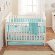 BreathableBaby Safety Crib Bedding Set, Aqua Mist, 3 Piece