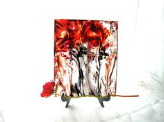 Decorative Glass Art - Original Red Poppy Art - Abstract Floral painted with Encaustic Medium on Plexiglass Panel - decorative Gift