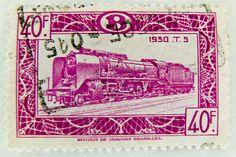 postzegel stamp train Belgium 40f railway Briefmarke Eisenbahn Belgien Railway Belgique timbre belgio bollo belgica selo Bǐlìshí Zug Lokomotive