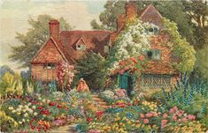 flowers right and left of path, woman at top of steps before tiled cottage, three chimneys - TuckDB
