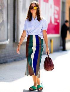 アンクル丈スカートで作る縦長ラインに注目|ナターシャ・ゴールデンバーグ(Natasha Goldenberg)の私服スナップ