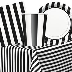 Party Packs | Black Stripe Tableware Pack - For 6