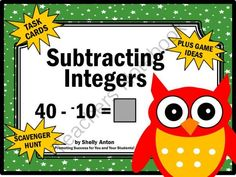Integers Subtraction Math Task Cards Positive and Negative Numbers Game from Promoting Success on TeachersNotebook.com -  (15 pages)  - Integers: Here are 30 printable integer task cards. Students must solve integer subtraction equations. Scavenger hunt directions, along with other games ideas, are provided. A student response form and answer key are also provided.
