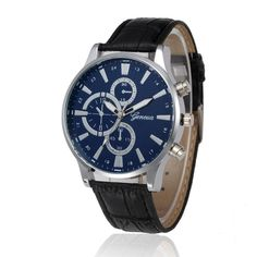 Geneva Quartz Leather Wristwatches For Men