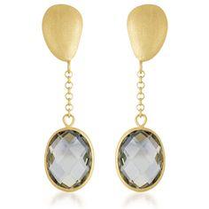 Collette Z Gold Overlay Genuine Smoky Quartz Drop Earrings