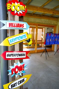 Superhero directional sign from a Superhero Birthday Party on Kara's Party Ideas | KarasPartyIdeas.com (15)