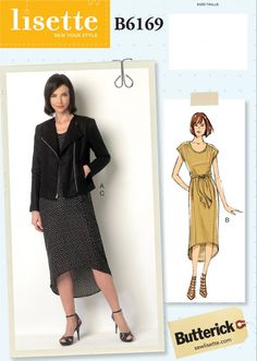 introducing new lisette patterns for butterick B6189 fully-lined moto jacket with all the trimmings and a relaxed pull-on style dress.