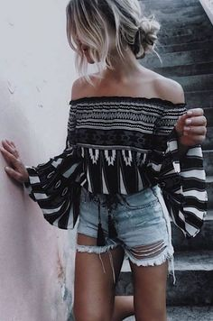 This is one of the beachy cute vacation outfits. #offtheshoulder #denimshorts #jeanshorts