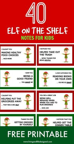 I love the message these elf on the shelf notes convey - reinforcing positive behavior, kindness, praising effort and hard work. These are awesome to pair with Elf on the Shelf. What an incredible idea! Please do this instead of telling your kids Christmas Elf, Family Christmas, Christmas Parties, Holiday Fun, Christmas Ideas, Photoshop Design, Nightmare Before Christmas, To Do App, Awesome Elf On The Shelf Ideas