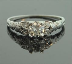 Antique Engagement Ring - 18k White Gold and Diamond Ring