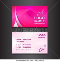 pink Business card design template vector illustration