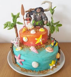 Moana themed buttercream cake I made for my daughter's 4th birthday