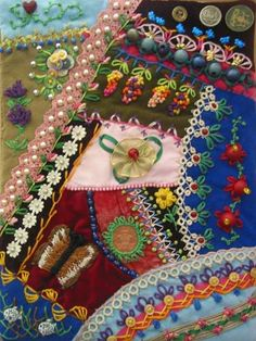 Victorian Crazy Quilt Patterns | Take a look at some utterly fantastic finished crazy quilt stitches