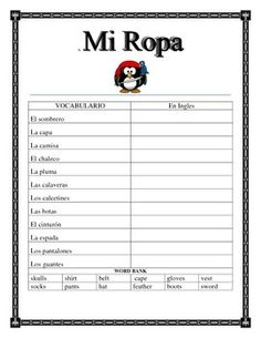 """This interactive unit contains four pages. It is a great tool to introduce students to clothing and celebrate the glorious time Pirates & Spaniards reigned in the Caribbean in your class. Great during the week of """"talk like a Pirate"""" celebrations."""