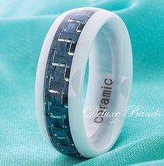 White Ceramic Wedding Ring,Turquoise Carbon Fiber Inlay Band,8mm,Domed,Turquoise White Ceramic Couple Ring,Mens Womens Blue Ceramic Band
