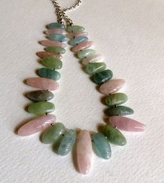 Beryl Jade Morganite and Sterling Silver Necklace Statteam (86.00 USD) by Smokeylady54