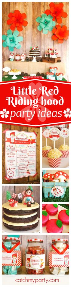 You don't want to miss this adorable Little Red Riding hood birthday party! The mushroom cookies are so cute! See more party ideas and share yours at CatchMyParty.com