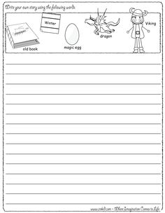 Writing Fun ~ Vikings ~ Write your own story using our writing prompts. We give you five words on our printout sheet and you create a story. First Grade - Second Grade - Third Grade. Get your pens ready & let the fun begin! www.crekid.com