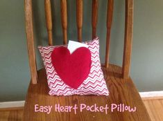 Easy Heart Pocket Pillow-kids sewing project