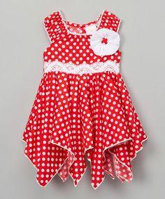 Look at this #zulilyfind! Red & White Polka Dot Handkerchief Dress - Toddler & Girls #zulilyfinds