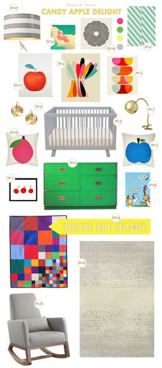 colorful baby nursery inspiration board