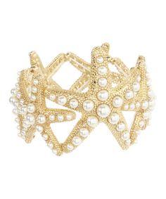 Another great find on #zulily! Goldtone & Pearl Starfish Stretch Bracelet #zulilyfinds