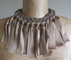 Fabric necklace with fringe bib choker upcycled recycled