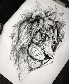 17 Trendy Ideas For Tattoo Geometric Bird Tat Lion Head Tattoos, Leo Tattoos, Sleeve Tattoos, Lion Chest Tattoo, Lion Tattoo Design, Tattoo Designs, Tattoo Sketches, Tattoo Drawings, Tattoo Ideas