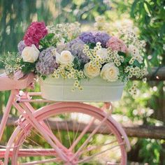 powder pink bike with a bicycle basket full of fresh picked bouquet of flowers that include roses - hydrangeas - lavender -sweet feminine girly treats . love the green outdoor garden Dream Garden, Garden Art, Garden Junk, Garden Theme, Garden Design, Side Garden, Balcony Garden, Pretty Flowers, Pretty In Pink