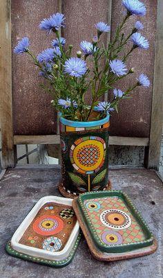 """Купить Керамический набор в ванную """"Flowers"""" - керамика ручной работы, Керамика, ванная комната, мыльница"""