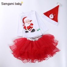 Christmas girls costumed kids cartoon Santa Claus baby girls' clothing set hat+t-shirt+skirt 3pcs suits Christmas party costume(China (Mainland))