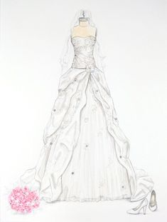 Custom Wedding Dress Illustration with crystal accents by ForeverYourDress on Etsy www.foreveryourdress.com