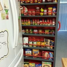 Tight on space and lacking storage? Build a roll-out pantry! Project plan here: http://www.instructables.com/id/Empty-Space-next-to-the-fridge-Make-a-Roll-Out-P/