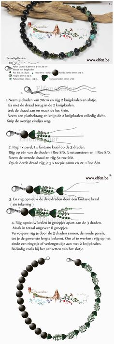 Elfenatelier free tutorial. Use: seed beads 6/0 and 8/0, 15 round beads 10mm, 24 bicone beads 4mm, gemstone chips +- 24 pieces, 9 free-form beads 12mm